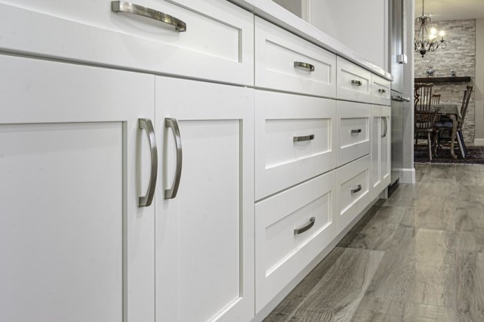 Beautiful Modern White Cabinets with Stainless Steel Handles Kitchen Remodel