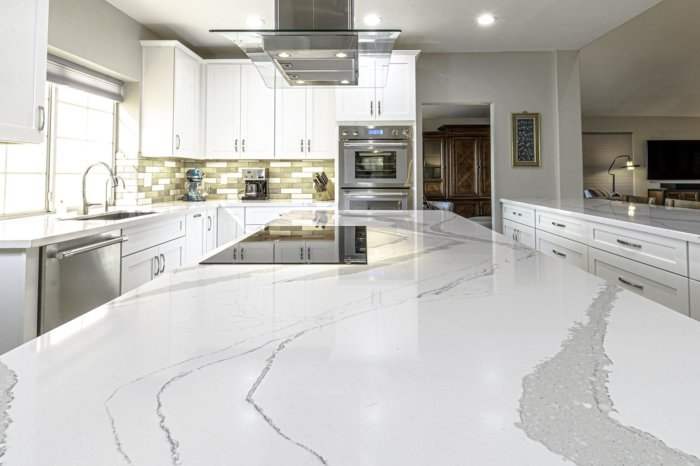 Kitchen Remodel with White Marble Countertops by Weeks and Mitchell Ahwatukee