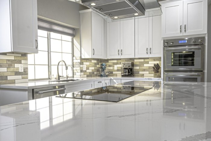 Marble Countertops Stanless Steel Appliances Elegant White Cabinet Remodel