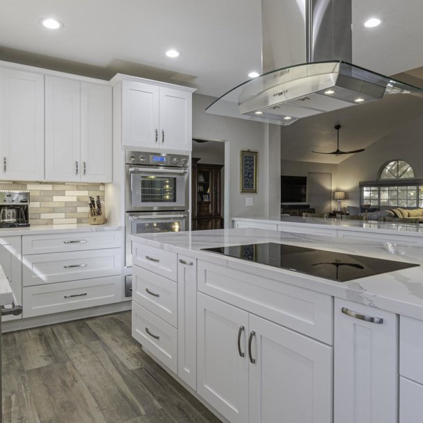 Modern Stainless Steel Vent hood above Glass Stove top Kitchen Remodel