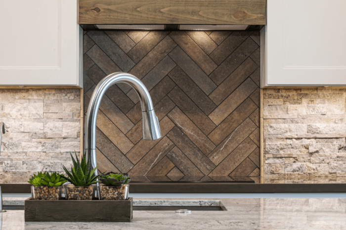 Wood and Stone Backsplash Range and Sink - Kitchen Remodeling Chandler AZ