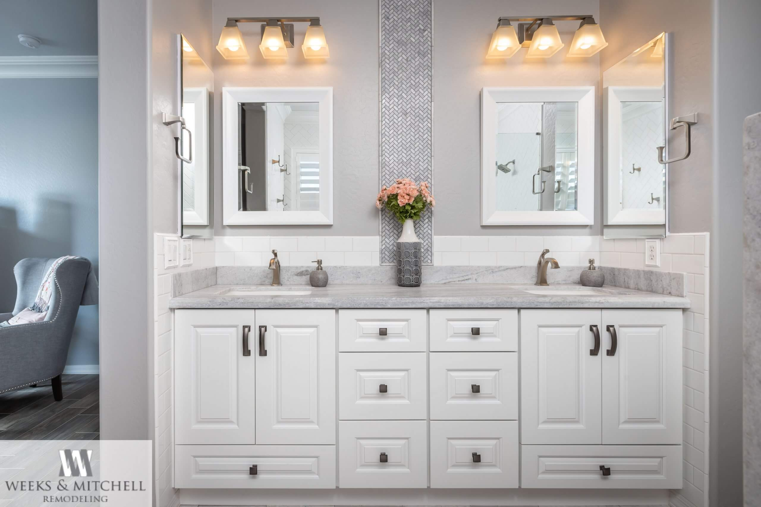 Contemporary Bathroom with white cabinets